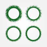 Set of round frames made of grass. Four isolated green frameworks. Stock Photo
