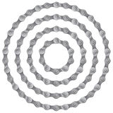 Set of round frames made of metal bicycle chain, isolated on white, Royalty Free Stock Images