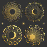 Set of round frames in oriental style. Moon, Sun, clouds in the sky. Set of decorative design elements. Golden silhouettes on black background Stock Photos