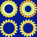 Set of round frames from slices of orange, lemon and lime. Royalty Free Stock Photo