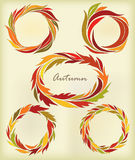 Set of round frames, stylized autumn leaves Stock Photo