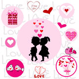 Set of round frames with Valentine elements Royalty Free Stock Photos