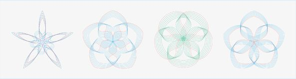 Set of round geometric curves in dual tone color. Easy to modify Royalty Free Stock Photography