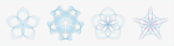 Set of round geometric curves in dual tone color. Easy to modify Royalty Free Stock Image