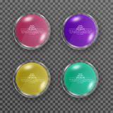 A set of round glass banners with a shadow. Multi-colored glossy buttons on the isolated background. Elements for design. Vector. Illustration royalty free illustration