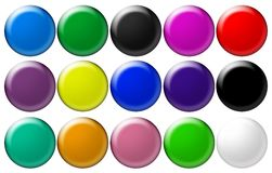 Set round glass buttons Stock Photos