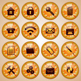 Set of  Round Glass Office Buttons Decorated for Autumn Royalty Free Stock Photo