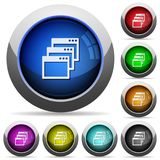 Cascade view button set. Set of round glossy cascade window view mode buttons. Arranged layer structure Stock Photos