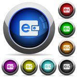 E-wallet button set. Set of round glossy e-wallet buttons. Arranged layer structure Stock Images