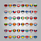 Set of round glossy flags of all sovereign countries of Europa Royalty Free Stock Image