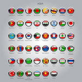 Set of round glossy flags of sovereign countries of Asia Stock Photo