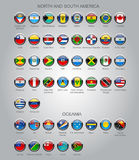 Set of round glossy flags of sovereign countries. Of North and South America continents and Oceania. Contain the Clipping Path. There is in addition a vector Royalty Free Illustration