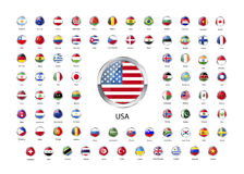 Set of round glossy icons with metallic border of flags of world sovereign states. On white stock illustration