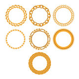 Set of round golden chain frames. Stock Images