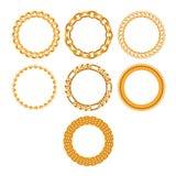 Set of round golden chain frames. vector illustration