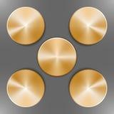 Set of round golden disks Stock Image