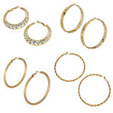 Set of round golden earrings Royalty Free Stock Images