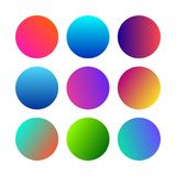 Set of Round Gradients spheres. Round Gradients spheres. Set of nine trendy multicolored Gradients . Vector illustration stock illustration