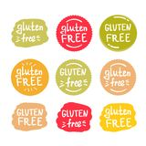 Set of round green labels with text gluten free royalty free stock image