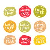 Set of round green labels with text lactose free stock photography