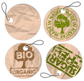 Set of round grunge tags for organic food Stock Image