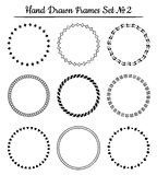 Set of round hand drawn frames. Vector illustration. Stock Images