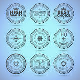 Set of round hollow badges. Nine badges with different text. EPS10 royalty free illustration