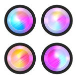 Set of round holographic banners. Blurred rainbow elements. The lens of the camera. Vector circles for your design Royalty Free Stock Photos