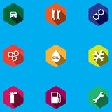 Set of round icons for car service Stock Photography
