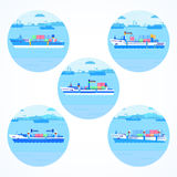Set of round icons with container ships. Stock Photography