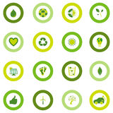 Set of round icons filled with bio eco environmental symbols. Set of sixteen round icons filled with bio eco environmental symbols in four shades of green Stock Images