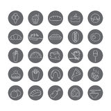 Set of round icons with food. Royalty Free Stock Images