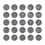 Set of round icons with food and drinks. Set of round icons with different foods vegetables, baked goods, meat, fish, beverages Stock Images
