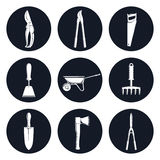 Set of Round Icons Garden Tools. Set of Round Monochrome Icons Garden Tools, Gardening Trowel and a Hand Hoe , an Axe and a Hand Rake ,a Pruning Shear and Royalty Free Stock Photo