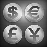 Set of round icons. With money signs on grey,  illustration Royalty Free Stock Photography