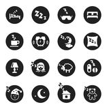 Set of round icons about sweet dreams and bed time Royalty Free Stock Photos
