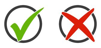Set of round icons tick and x. Isolated Icons red and green tick and x Stock Photography