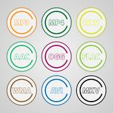 Set of colored icons for popular file types. Set of round icons for video and audio files. Set of colored icons for popular file types Stock Images