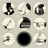 Set of round images in vintage engraving style with body parts a Royalty Free Stock Photography