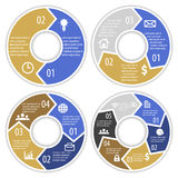 Set of round infographic diagram with arrows. Circles of 2, 3, 4, 6 elements. Vector EPS10 stock illustration