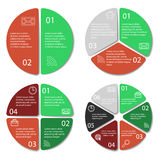 Set of round infographic diagram. Circles of 2, 3, 4, 6 elements Stock Images