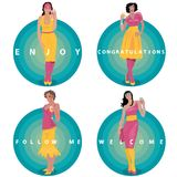 Set of round stickers with toasting girls Stock Images
