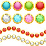 Set of round jewelery buttons and seamless chain Stock Image