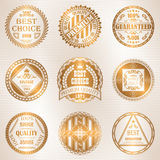 Set of round labels in gold Stock Images