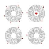 Set round labirynty gemowi dzieciaki Łamigłówka dla dzieci Labitynt zagadka Płaska wektorowa ilustracja odizolowywająca na bielu ilustracja wektor