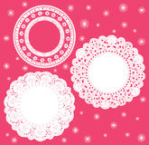 Set for round lace doily. Very nice Vector illustration for Background. Suitable for celebrations, holidays, sewing, arts, crafts, scrapbooks, setting table Royalty Free Stock Images