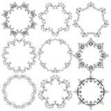 Set of round lace frames Royalty Free Stock Image