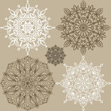 Set of round lace ornaments Stock Image