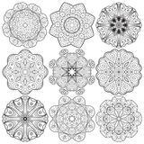 Set of round lacy ornaments Royalty Free Stock Photography