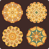 Set of round lacy ornaments Stock Image